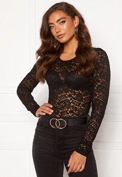Jacqueline de Yong Kim L/S Puff Sleeve Lace Top Black Bubbleroom.fi