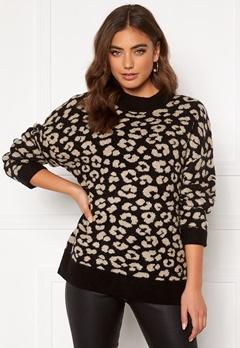 Jacqueline de Yong Leo L/S Pullover Black/Leopard Bubbleroom.fi