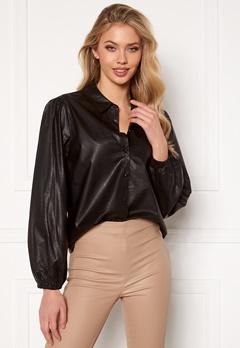 Jacqueline de Yong London L/S Faux Leather Shirt Black Bubbleroom.fi