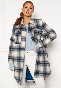 Jacqueline de Yong Long Check Shirt Jacket Majolica Blue Bubbleroom.fi