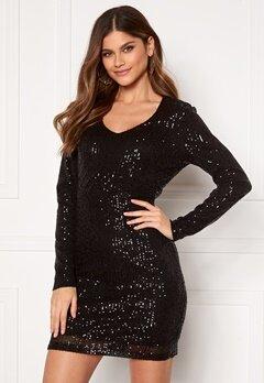 Jacqueline de Yong Mimo Sequins L/S Dress Black Sequins Bubbleroom.fi