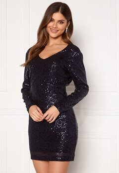 Jacqueline de Yong Mimo Sequins L/S Dress Sky Captain Sequins Bubbleroom.fi