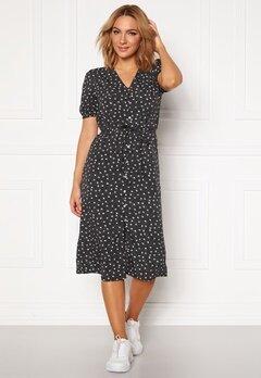 Jacqueline de Yong Ora 2/4 Button Dress Black AOP Bubbleroom.fi