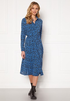 Jacqueline de Yong Piper L/S Placket Dress Blue Iolite AOP Silv Bubbleroom.fi