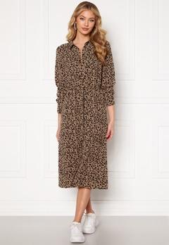 Jacqueline de Yong Piper L/S Placket Dress Silver Mink AOP Blac Bubbleroom.fi