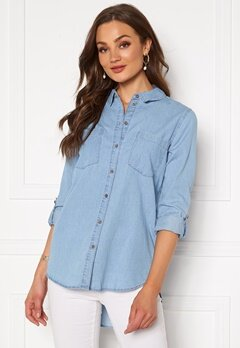 Jacqueline de Yong Roger L/S Long Shirt Light Blue Denim Bubbleroom.fi