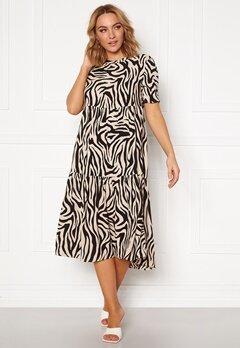 Jacqueline de Yong Tara S/S Midi Dress TapiocaBlack Zebra Bubbleroom.fi