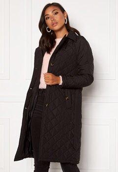 Jacqueline de Yong Tora Long Quilt Trenchcoat Black Bubbleroom.fi