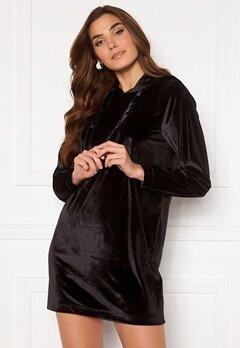 Jacqueline de Yong Velvet Hoodie Dress Black Bubbleroom.fi