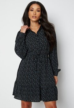 JDY Brooke L/S Short Dress Black Mini Flower bubbleroom.fi