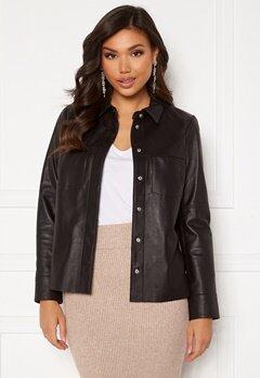 JOFAMA Anne Leather Shirt Jacket Black bubbleroom.fi