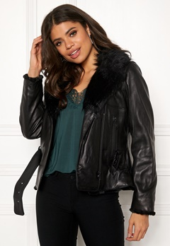 JOFAMA Emma Leather Jacket 00 Black Bubbleroom.fi