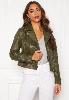 JOFAMA Kajta Leather Jacket Green Bubbleroom.fi