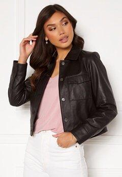 JOFAMA Lynn Leather Jacket Black bubbleroom.fi