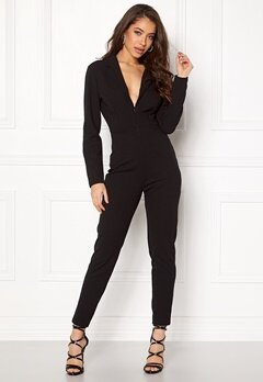 John Zack Deep V Neck Jumpsuit Black Bubbleroom.fi