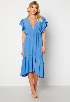John Zack Frill Sleeve V Neck Midaxi Dress Blue Bubbleroom.fi