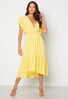 John Zack Frill Sleeve V Neck Midaxi Dress Lemon Bubbleroom.fi
