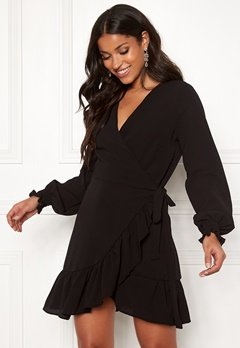 John Zack Frilly Wrap Mini Dress Black Bubbleroom.fi
