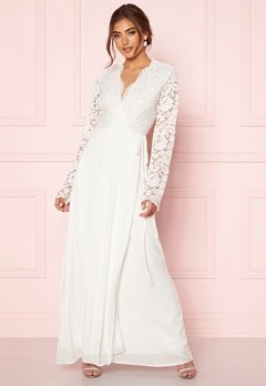 John Zack Lace Bodice Wrap Dress Ivory Bubbleroom.fi
