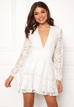 John Zack Lace Deep V Skater Dress White Bubbleroom.fi