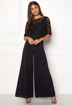 John Zack Lace Top Culotte Jumpsuit Black Bubbleroom.fi