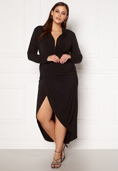 John Zack Long Sleeve Rouch Curve Dress Black Bubbleroom.fi