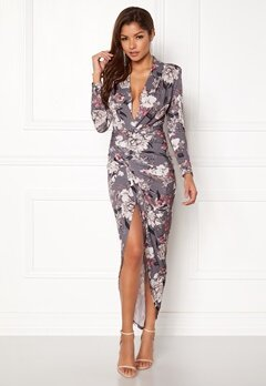 John Zack Long Sleeve Rouch Dress Grey Floral Bubbleroom.fi