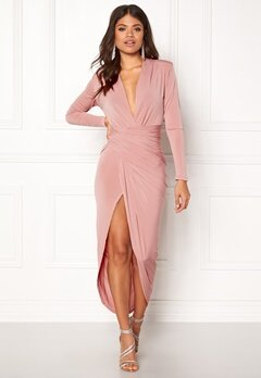 John Zack Long Sleeve Rouch Dress Rose Pink Bubbleroom.fi