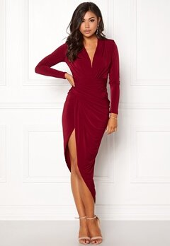 John Zack Long Sleeve Rouch Dress Wine Bubbleroom.fi