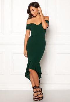 John Zack Off Shoulder High Dress Bottle Green Bubbleroom.fi