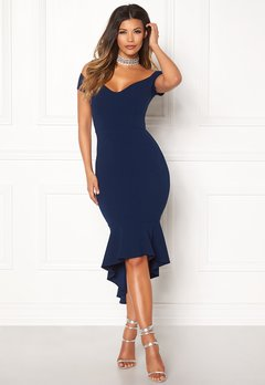 John Zack Off Shoulder High Dress Navy Bubbleroom.fi
