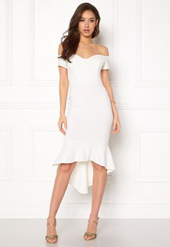John Zack Off Shoulder High Dress White Bubbleroom.fi