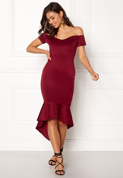 John Zack Off Shoulder High Dress Wine Bubbleroom.fi
