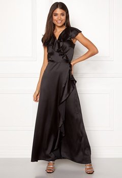 John Zack Ruffle Wrap Maxi Dress Black Bubbleroom.fi