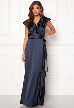John Zack Ruffle Wrap Maxi Dress Navy Bubbleroom.fi