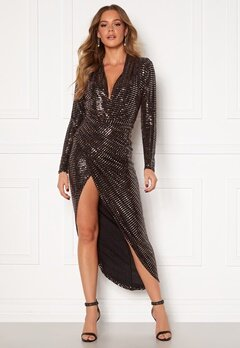 John Zack Sequin Rouch Maxi Dress Bronze Bubbleroom.fi