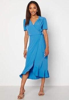 John Zack Short Sleeve Wrap Dress Dusty Blue bubbleroom.fi