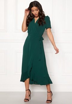 John Zack Short Sleeve Wrap Dress green Bubbleroom.fi