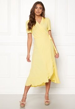 John Zack Short Sleeve Wrap Dress Lemon Bubbleroom.fi