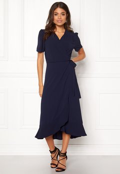 John Zack Short Sleeve Wrap Dress Navy Bubbleroom.fi
