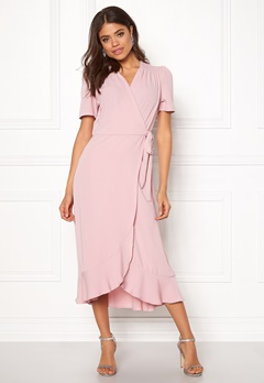 John Zack Short Sleeve Wrap Dress Pink Bubbleroom.fi