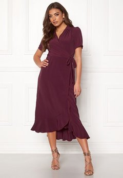 John Zack Short Sleeve Wrap Dress Wine Bubbleroom.fi