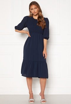 John Zack Smock Midaxi Dress Navy Bubbleroom.fi