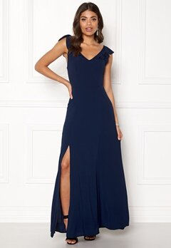 John Zack Tie Back Frill Maxi Dress Navy Bubbleroom.fi