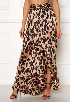John Zack Wrap Frill Maxi Skirt Animal Print Bubbleroom.fi