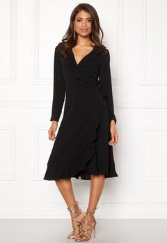 John Zack Wrap Frill Midi Dress Black Bubbleroom.fi