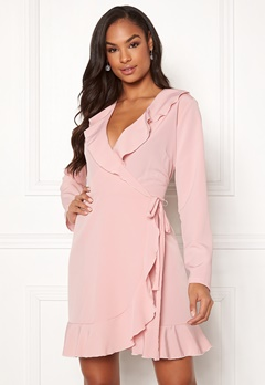 John Zack Wrap Frill mini Dress Pink Bubbleroom.fi
