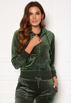 Juicy Couture Robertson Classic Velour Hoodie Dark Moss Bubbleroom.fi