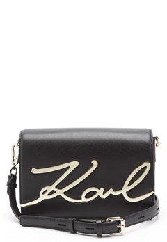 Karl Lagerfeld Signature Shoulder Bag Black/Gold Bubbleroom.fi
