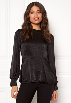Pieces Kiley LS T-neck Top Black Bubbleroom.fi